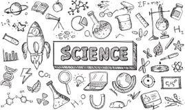 Icona in bianco e nero di biologia di fisica di chimica di scienza di schizzo illustrazione vettoriale