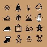 Icona in bianco e nero di Natale Fotografie Stock