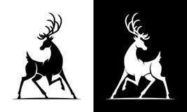 Icona in bianco e nero di vettore della siluetta dei cervi illustrazione vettoriale