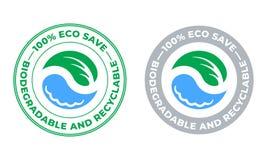 Icona biodegradabile e riciclabile di vettore Eco conserva il bio- pacchetto riciclabile e degradabile, la foglia verde ed il bol immagini stock libere da diritti