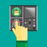 Icona biometrica dell'analizzatore dell'impronta digitale Fotografia Stock Libera da Diritti