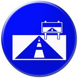 Icona blu con il simbolo della strada Fotografie Stock