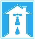 Icona blu con la casa, il colpetto e la freccia Immagine Stock