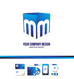Icona blu 3d di logo del cubo della lettera m. di alfabeto Fotografia Stock Libera da Diritti