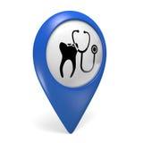 Icona blu del puntatore 3D della mappa con un simbolo del dente per le cliniche dentarie Fotografia Stock