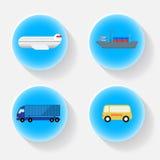 Icona blu del trasporto di trasporto con ombra Immagine Stock