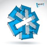 icona blu dell'ambulanza del tessuto a maglia 3d isolata su bianco Fotografia Stock Libera da Diritti