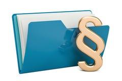 Icona blu della cartella del computer con il simbolo di paragrafo, rappresentazione 3D Fotografia Stock Libera da Diritti