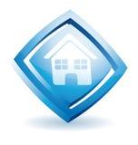 Icona blu della casa Immagine Stock