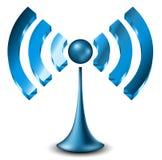 Icona blu di 3d WiFi Fotografie Stock Libere da Diritti