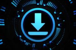 Icona blu di download nello spazio di tecnologia Immagine Stock Libera da Diritti