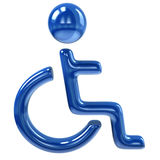 Icona blu di handicap Fotografie Stock Libere da Diritti