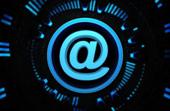 Icona blu di Internet nello spazio di tecnologia Fotografia Stock