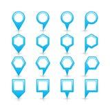 Icona blu piana di posizione di segno del perno della mappa dei colori Fotografie Stock