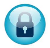 Icona blu vetrosa della serratura Fotografia Stock