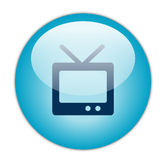 Icona blu vetrosa della televisione Fotografia Stock