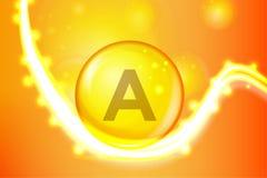 Icona brillante del capcule della pillola dell'oro della vitamina A Complesso della vitamina con la formula chimica illustrazione vettoriale