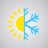 Icona calda e fredda di temperatura Fotografie Stock