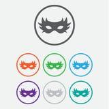 icona carnaval semplice della maschera Illustrazione piana EPS10 Icona di colore Fotografie Stock Libere da Diritti