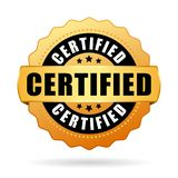 Icona certificata della guarnizione dell'oro Immagine Stock Libera da Diritti