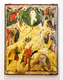 Icona che ortodossa russa antica la trasfigurazione dipinta sopra corteggia Fotografia Stock Libera da Diritti