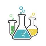 Icona chimica del pittogramma della provetta Vetreria per laboratorio o beake Immagine Stock