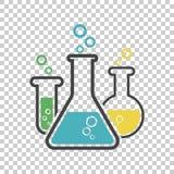 Icona chimica del pittogramma della provetta Vetreria per laboratorio o beake Fotografia Stock