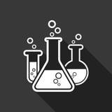 Icona chimica del pittogramma della provetta Vetreria per laboratorio o beake Immagini Stock