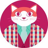 Icona circolare con il gatto arancio felice in rivestimento del tartan royalty illustrazione gratis