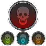 Icona circolare e metallica del cranio Quattro variazioni di pendenza di colore Isolato su bianco illustrazione vettoriale