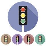 Icona circolare e rettilinea del palo del semaforo Cinque variazioni di colore illustrazione di stock