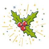 Icona colorata del vischio di Natale nella linea stile sottile Immagini Stock Libere da Diritti