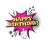 Icona comica del testo di Art Style Happy Birthday Expression di schiocco della bolla di chiacchierata di discorso Illustrazione Vettoriale