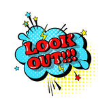 Icona comica del testo di Art Style Look Out Expression di schiocco della bolla di chiacchierata di discorso illustrazione di stock