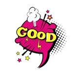 Icona comica di Art Style Good Expression Text di schiocco della bolla di chiacchierata di discorso Immagini Stock