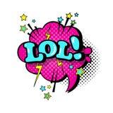 Icona comica di Art Style Lol Expression Text di schiocco della bolla di chiacchierata di discorso Immagini Stock