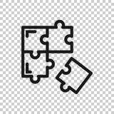 Icona compatibile di puzzle nello stile trasparente Illustrazione di vettore di accordo del puzzle su fondo isolato Soluzione di  royalty illustrazione gratis