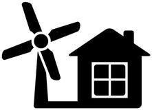 Icona con il mulino di vento e della casa Immagini Stock Libere da Diritti
