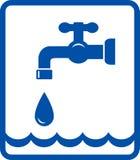 Icona con l'onda di acqua e del rubinetto Fotografia Stock Libera da Diritti