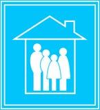 Icona con la famiglia e la casa Fotografie Stock Libere da Diritti