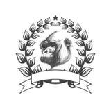 Icona con la gorilla vettore disegnato a mano ENV 8 Fotografia Stock Libera da Diritti