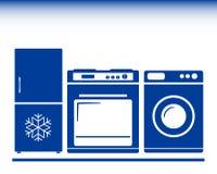 Icona con la stufa di gas, frigorifero, lavatrice Fotografia Stock Libera da Diritti