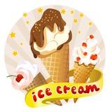 Icona con un insieme del gelato Fotografia Stock