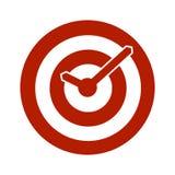 Icona concettuale dell'orologio dell'obiettivo rosso Fotografia Stock