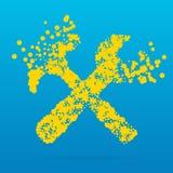 Icona creativa astratta di vettore di concetto degli strumenti per le applicazioni del cellulare e di web isolati su fondo Illust Immagini Stock Libere da Diritti