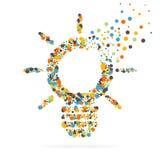 Icona creativa astratta di vettore di concetto della lampadina per le applicazioni del cellulare e di web isolata su fondo Illust Fotografia Stock