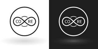 Icona creativa del centro facendo uso del segno dell'infinito nel bianco e nel nero illustrazione vettoriale