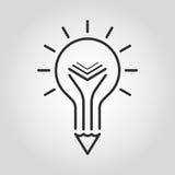Icona creativa di istruzione Simbolo della matita e del libro della lampadina Fotografie Stock Libere da Diritti