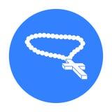 Icona cristiana del rosario nello stile nero isolata su fondo bianco Illustrazione di vettore delle azione di simbolo di religion Fotografia Stock