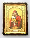 Icona cristiana di legno su fondo bianco fotografia stock